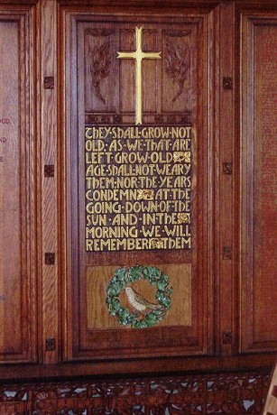 Memorial plaque in Christ Church Cathedral, Christchurch, NZ with Ode of Remembrance