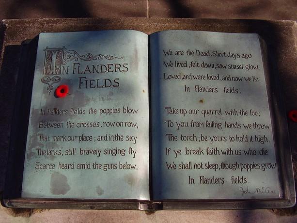 """John McCrae Memorial """"book"""" close-up. McCrae House, Guelph, Ontario, Canada"""