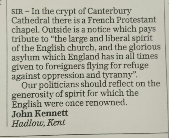 """England has in all times given foreigners flying for refuge against oppression"" #migrantcrisis"