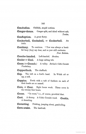 Conkerbell, Cockabell or Cockerbell. An icicle. Cornish dialect