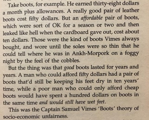 Quote - The reason that the rich were so rich, Vimes reasoned, was because they managed to spend less money