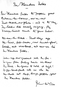 """Facsimile of handwritten version of McCrae's """"In Flanders Fields"""" ends the first line with """"grow"""""""