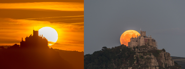 Sunrise and Moonrise on the same day. With the #HarvestMoon rising behind St Michaels mount in Cornwall this evening
