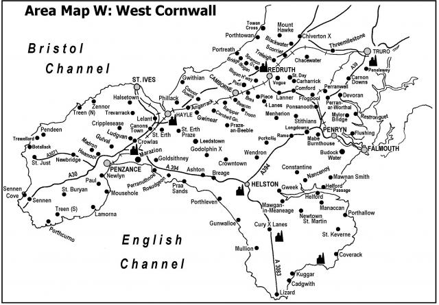 Map of West Cornwall